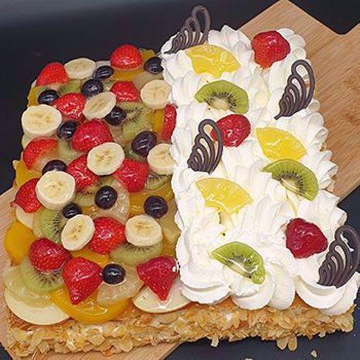 Afbeelding van 1/2 slagroom 1/2 vruchten taart